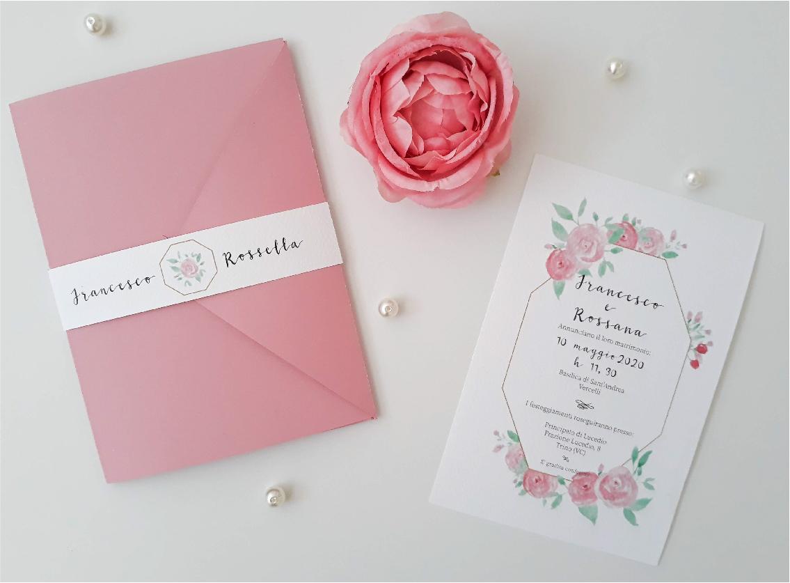 Partecipazione di matrimonio 2020 acquerello fiori con rose rosa e oro geometrico