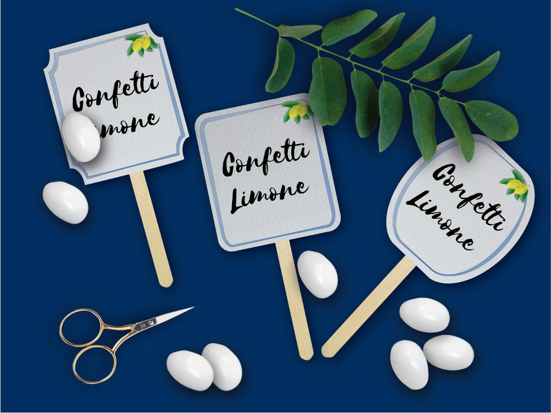 Cartellini Confettata segnagusto 2020 tema limoni frutta amalfi sorrento maioliche