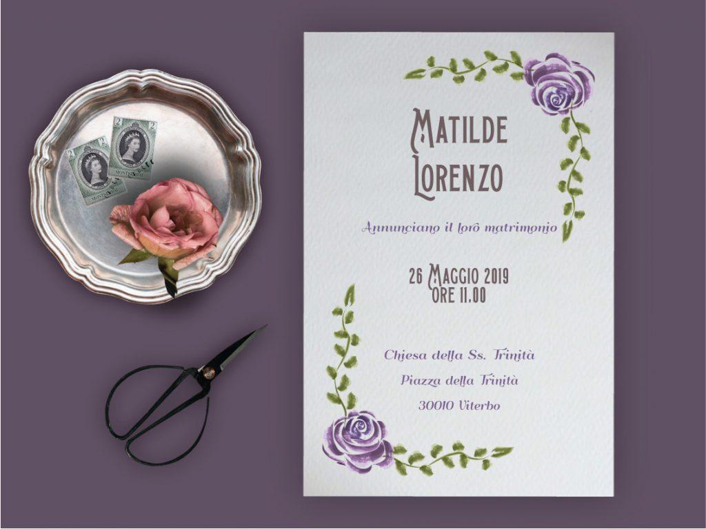 Partecipazione di matrimonio 2019 tema fiori ultraviolet stile vintage con rose