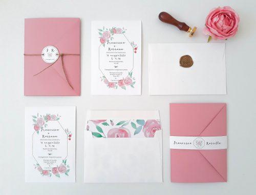 Acquarello fiori partecipazione di nozze rosa con ceralacca Suite Grafica Matrimonio coordinato