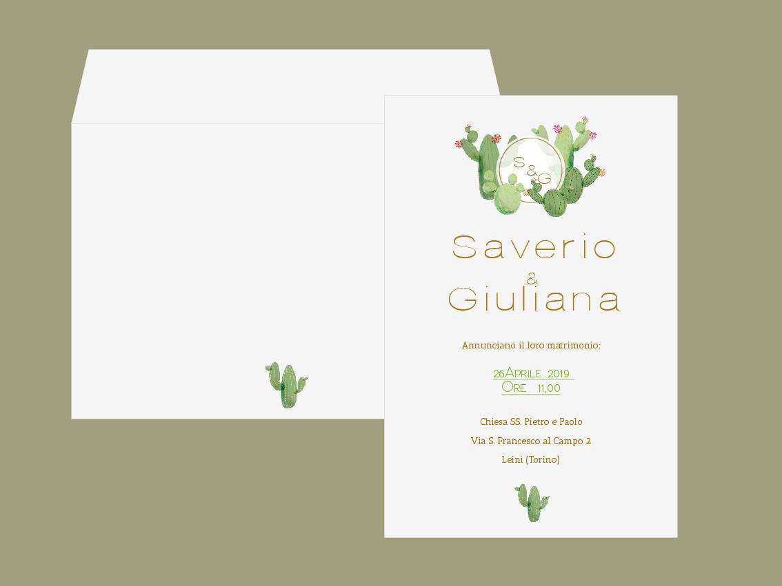 Partecipazione di matrimonio 2019 tema cactus oro e verde vegetale green