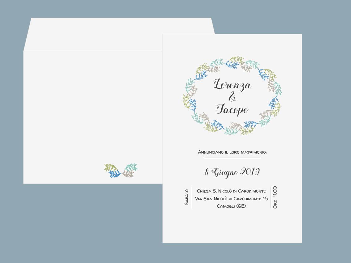 Partecipazione di matrimonio 2019 con ramo foglie azzurro e verde stile rustico