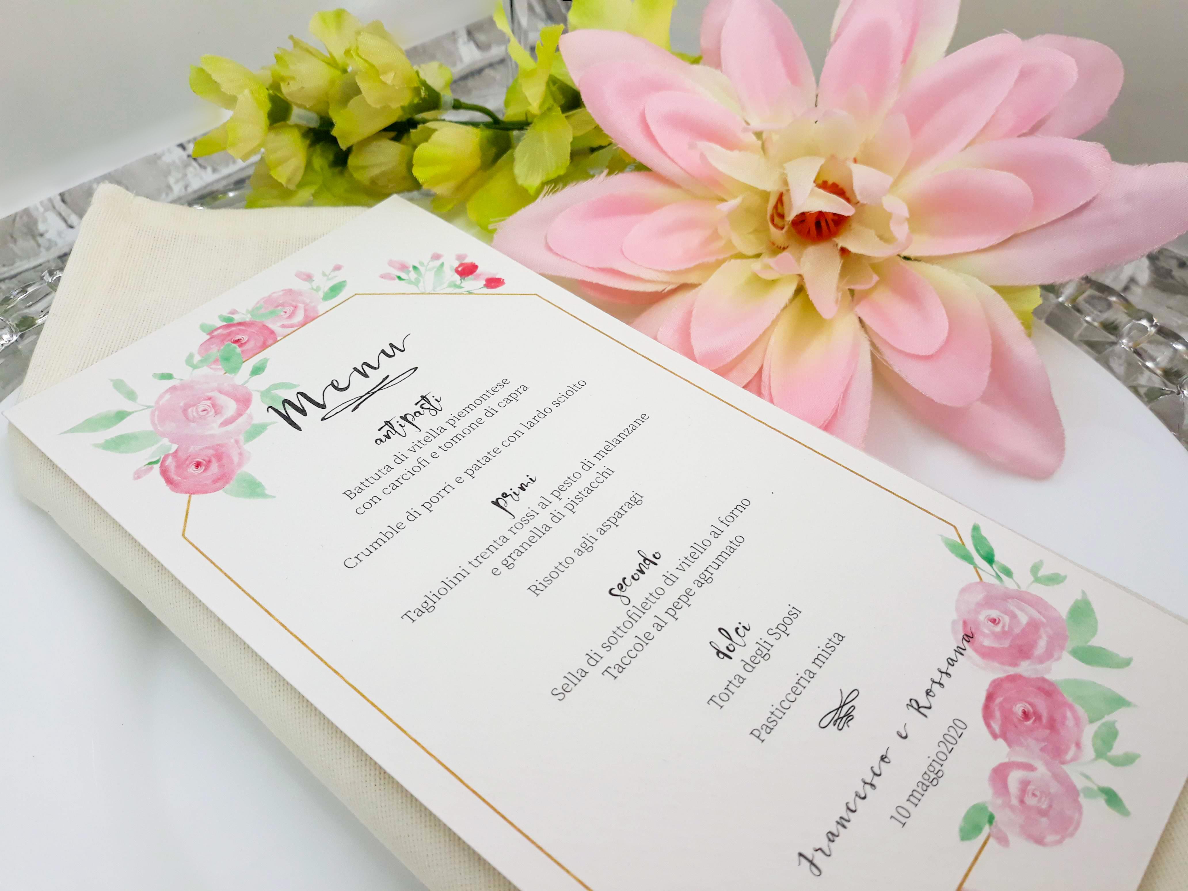 Menu Acquarello fiori nozze rosa Suite Grafica Matrimonio coordinato
