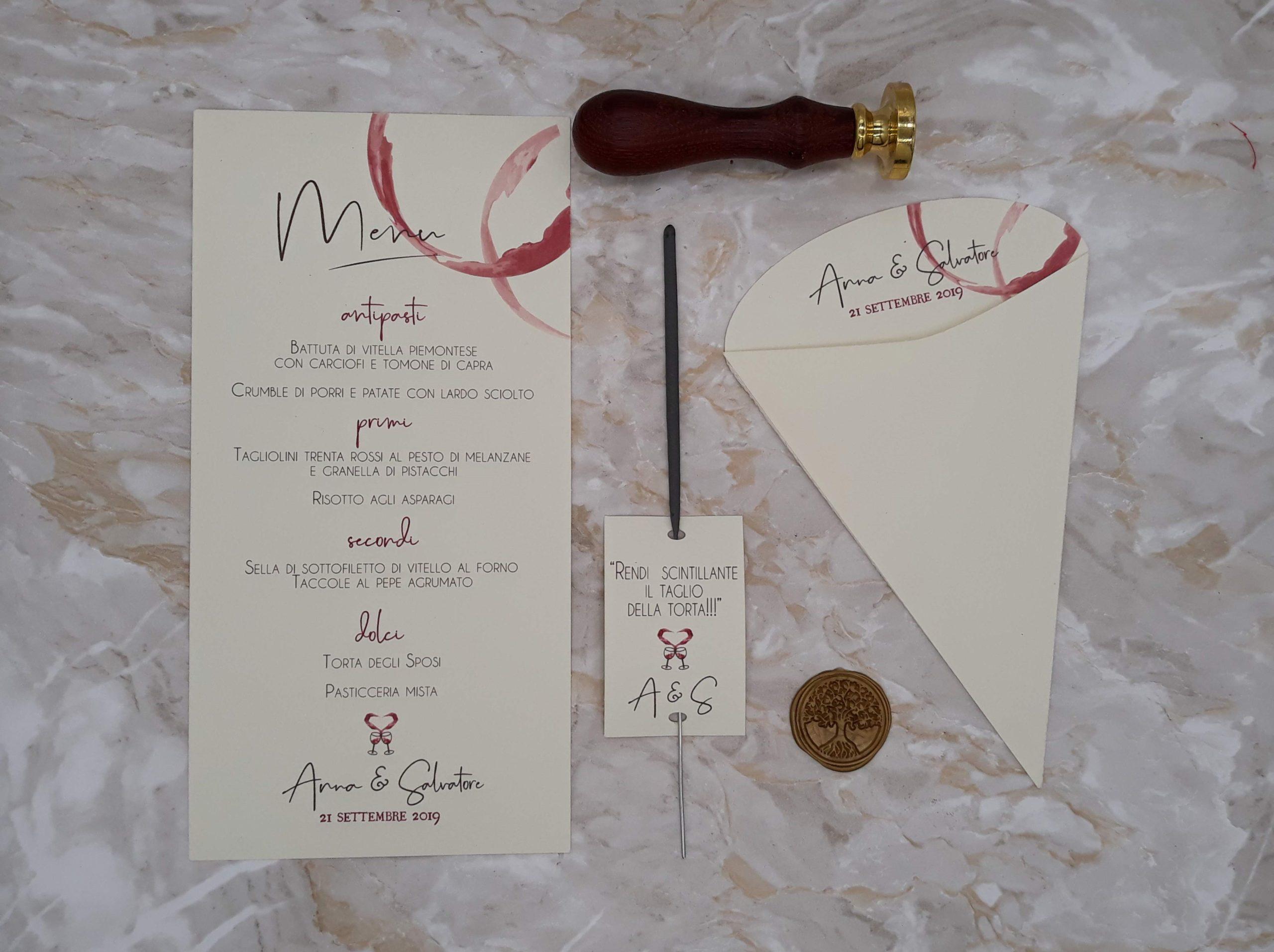 accessori matrimonio tema vino coni riso menu