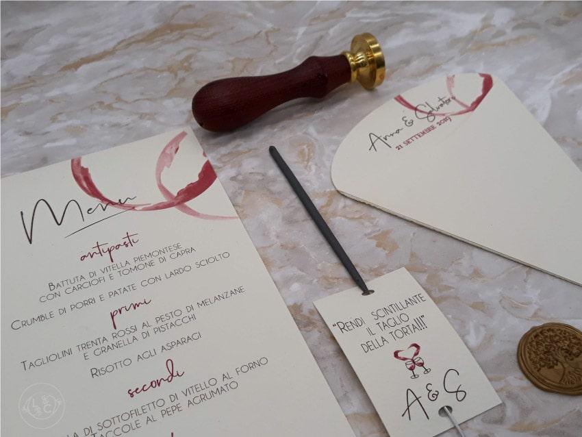partecipazioni matrimonio tema vino coni riso menu