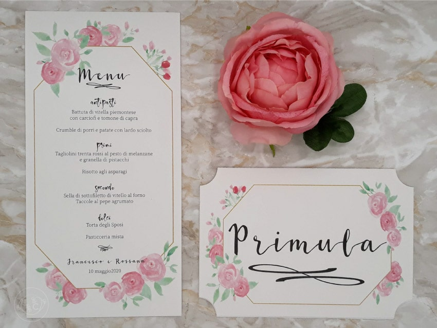 menu-segnatavolo-fiori-nozze-personalizzato rosa oro