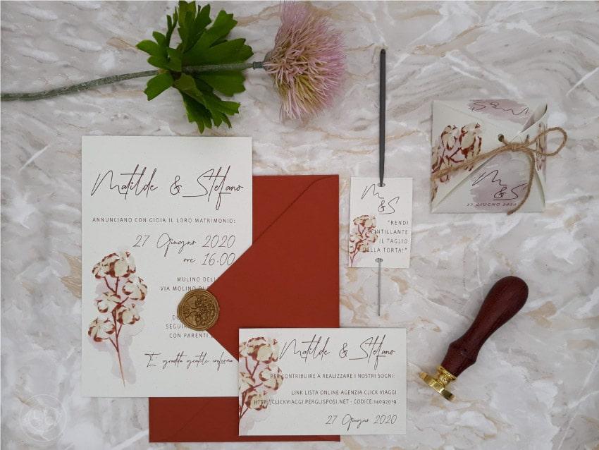 partecipazioni-di-matrimonio-con-ceralacca-rosa-rame-cotone-
