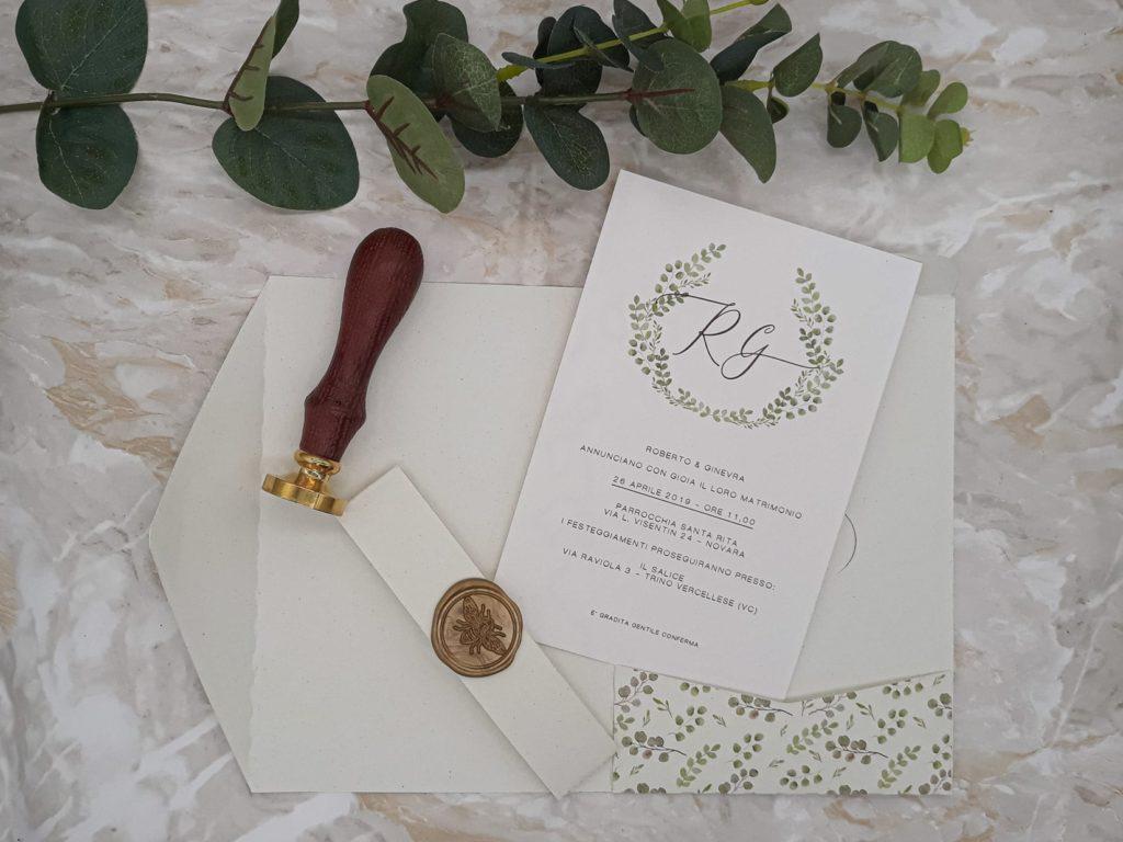 Partecipazione pocketfold Botanica carta ecologica personalizzata