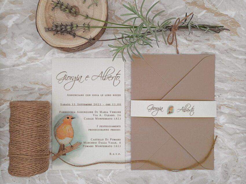 Matrimonio tema animali Uccellino - Le Cartasie