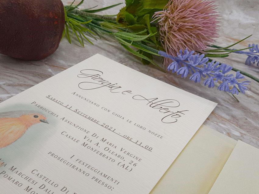 Matrimonio-animali-Uccellino-su-carta-telata-Le-Cartasie