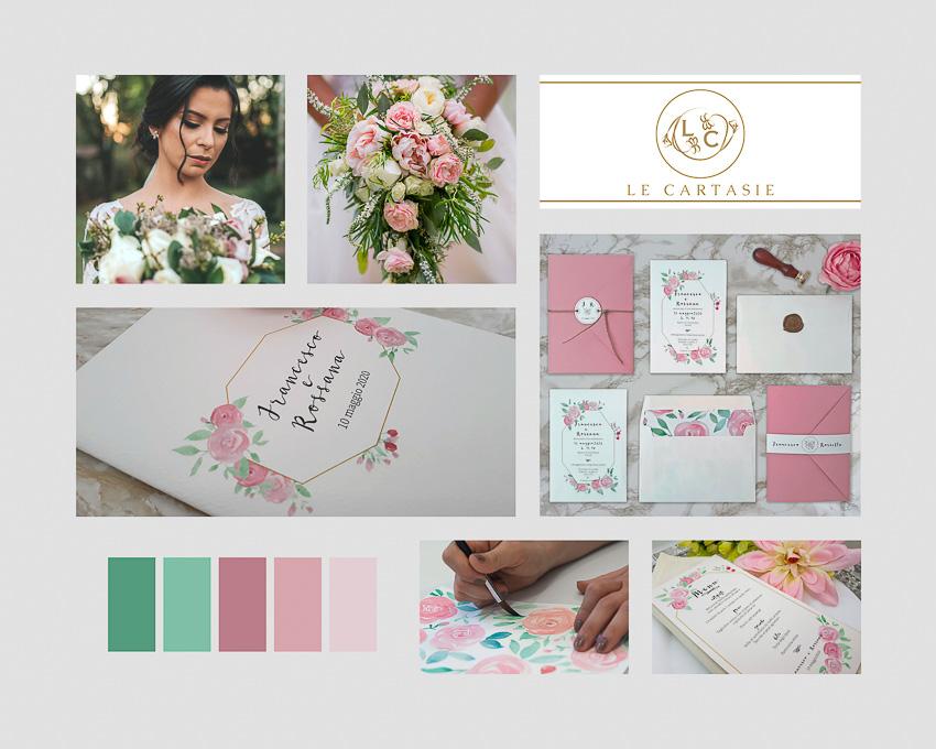 moodboard matrimonio rosa partecipazioni personalizzate