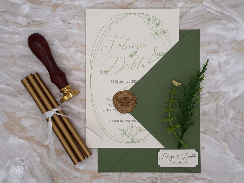 Partecipazioni matrimonio tema Giglio verdi disegno personalizzate - Le Cartasie