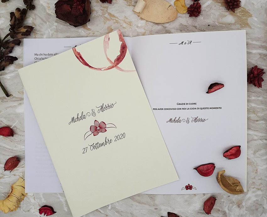 Libretti messa tema vino con Orchidea - Le Cartasie