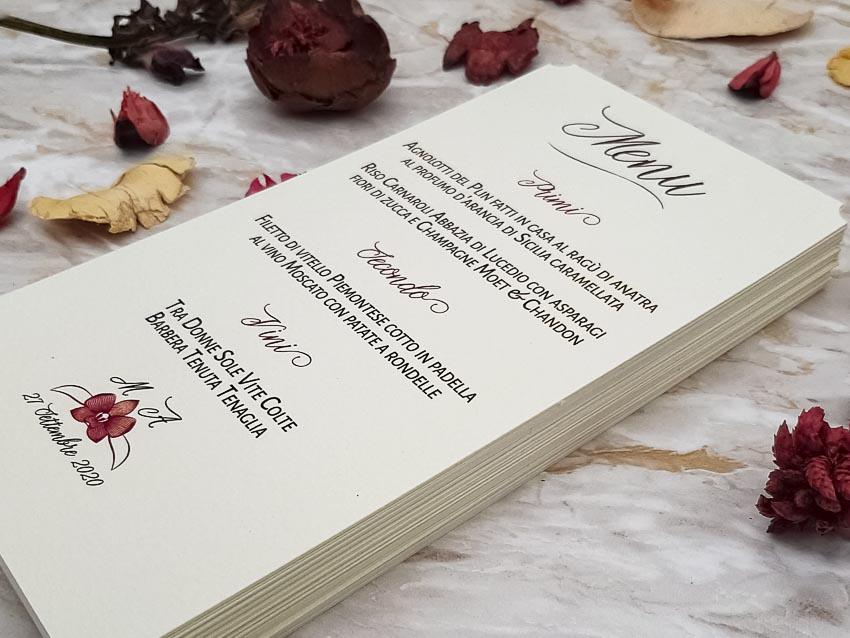 Menu tema vino con orchidea - Le Cartasie
