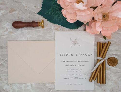 Partecipazione cipria fiori acquerello - stile minimal - nozze - matrimonio le cartasie