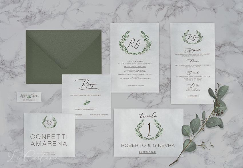 le cartasie -wedding suite coordinato rami verdi matrimonio